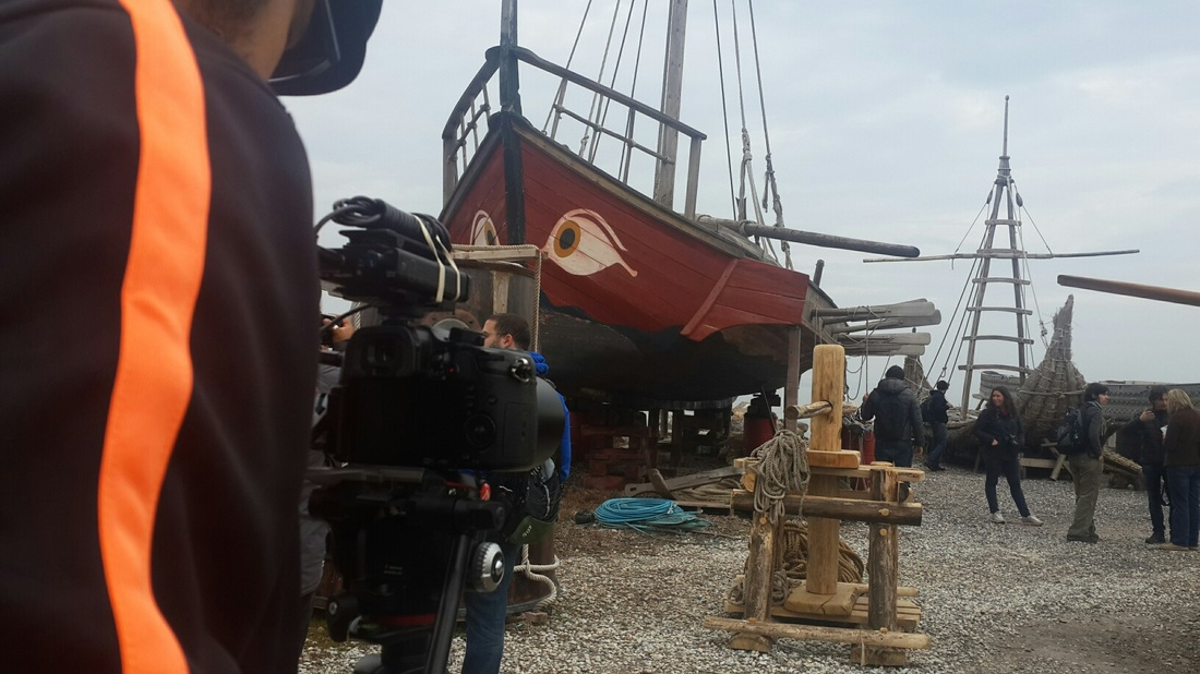 filming with ancient boats in izmir