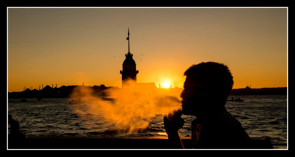 smoking sisha near maiden's tower in istanbul
