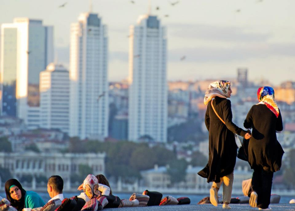 turkish women on the business district of istanbul